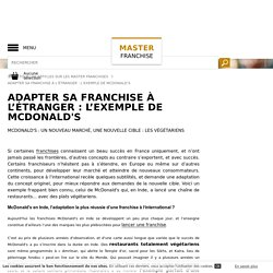 Adapter sa franchise à l'étranger : l'exemple de McDonald's - Master Franchise
