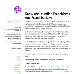 Know About Indian Franchisees And Franchise Law