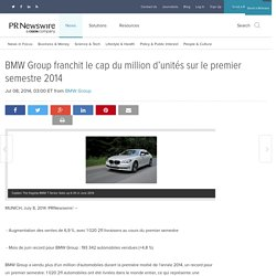 BMW Group franchit le cap du million d'unités sur le premier semestre 2014