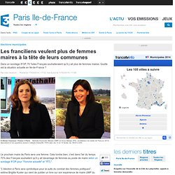 Les franciliens veulent plus de femmes maires à la tête de leurs communes