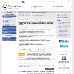 Taylor & Francis Author Services - Taylor & Francis open access program
