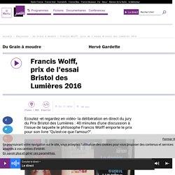 Francis Wolff, prix de l'essai Bristol des Lumières 2016