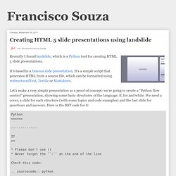 Creating HTML 5 slide presentations using landslide