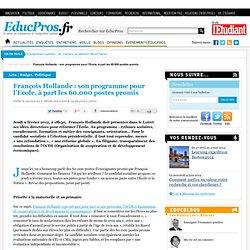 François Hollande : son programme pour l'Ecole, à part les 60.000 postes promis