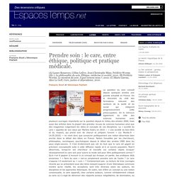 François Sicot et Véronique Feyfant : Prendre soin : le care, entre éthique, politique et pratique médicale.