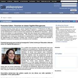 Le café pédagogique: Interview de Francoise Cahen concernant l'égalite filles-garçons.
