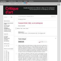 """[B] """"La vidéo, un art contemporain"""", Françoise Parfait"""