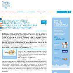 """Bientôt un 1er """"MOOC"""" francophone en droit, ouvert à tous et gratuit sur le droit des entreprises."""