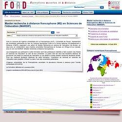 Master recherche à distance francophone (M2) en Sciences de l'éducation (MARDIF)