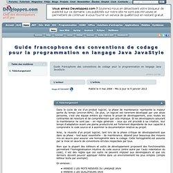 Guide des conventions de codage Java - JavaStyle