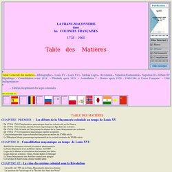 Franc Ma onnerie - colonies francophones : Pr sentation Histoire - Table des Mati res