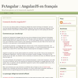 Comment aborder AngularJS ?