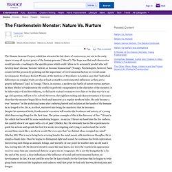 The Frankenstein Monster: Nature Vs. Nurture