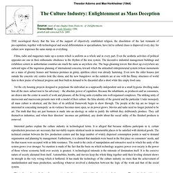 Frankfurt School: The Culture Industry: Enlightenment as Mass Deception