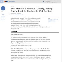 Ben Franklin's Famous 'Liberty, Safety' Quote Lost Its Context In 21st Century