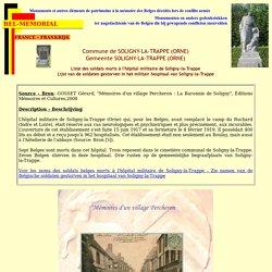 FRANCE - FRANKRIJK - Soligny-la-Trappe (Orne) - Liste des soldats morts à l'hôpital militaire de Soligny-la-Trappe - Lijst van de soldaten gestorven in het hospitaal van Soligny-la-Trappe