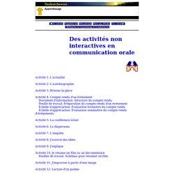 Fran ais - Secondaire - Programmes d' tudes - Fransaskoises - Des activit s non interactives en communication orale