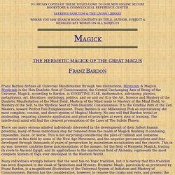 Franz Bardon's Hermetic Magic