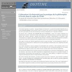 Diotime - L'éducation à la fraternité par la pratique de la philosophie à l'école dans le cadre de l'EMC
