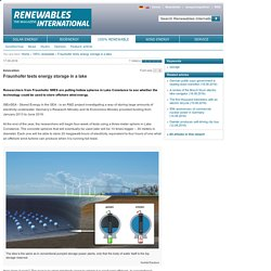 Fraunhofer tests energy storage in a lake
