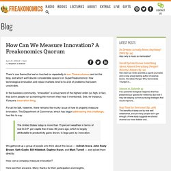 How Can We Measure Innovation? A Freakonomics Quorum - Freakonom