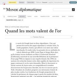 Quand les mots valent de l'or, par Frédéric Kaplan (Le Monde diplomatique, novembre 2011)