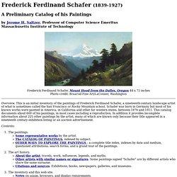 Frederick Ferdinand Schafer Catalog, Home Page