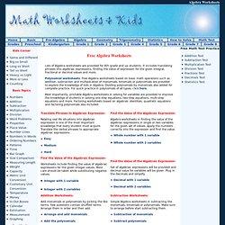 Free Algebra Worksheets
