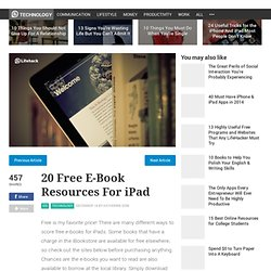 20 Free E-Book Resources For iPad