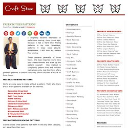 Free Clothes Patterns - StumbleUpon
