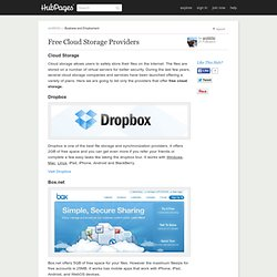Free Cloud Storage Providers