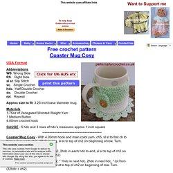 Free crochet pattern coaster mug cosy usa