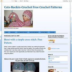 Beret with a simple cross stitch. Free Pattern.