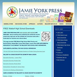FREE downloads on Waldorf math for high school