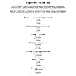 Free English Placement Test
