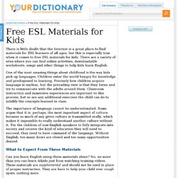 Free ESL Materials for Kids