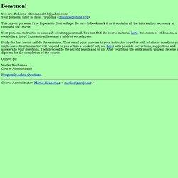 Free Esperanto Course; Bonvenon