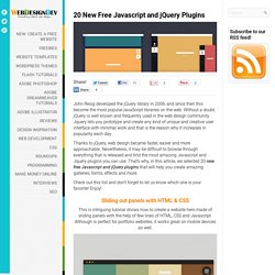 20 New Free Javascript and jQuery Plugins