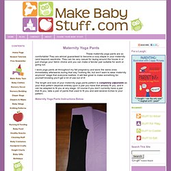 Free Maternity Yoga Pants Pattern