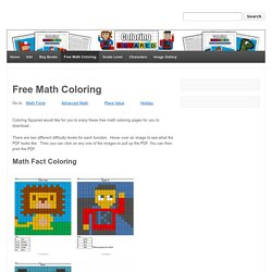 Free Math Coloring Pages - Pixel Art and Math