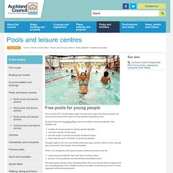 Free pools for 16 years and under