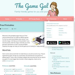 Free Printable Word Lists - The Game Gal
