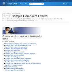 FREE Sample Complaint Letters