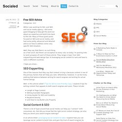 Search Engine Optimization Advice