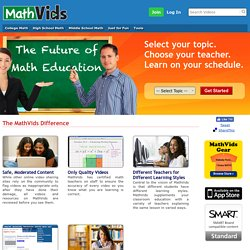 Free Math Help and Free Math Videos Online at MathVids.com