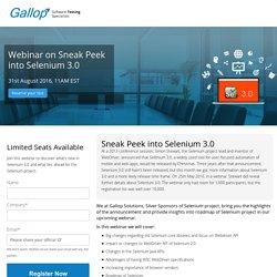 Free webinar: Sneak Peek into Selenium 3.0