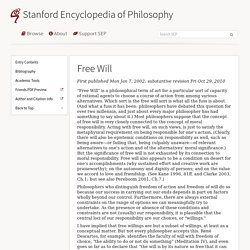 Free Will Stanford Encyclopedia of Philosophy