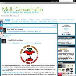 Free Math Worksheets - Math Concentration