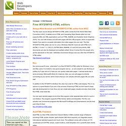 Free WYSIWYG HTML editors list