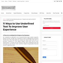 11 ways to use underlined text to improve user experience